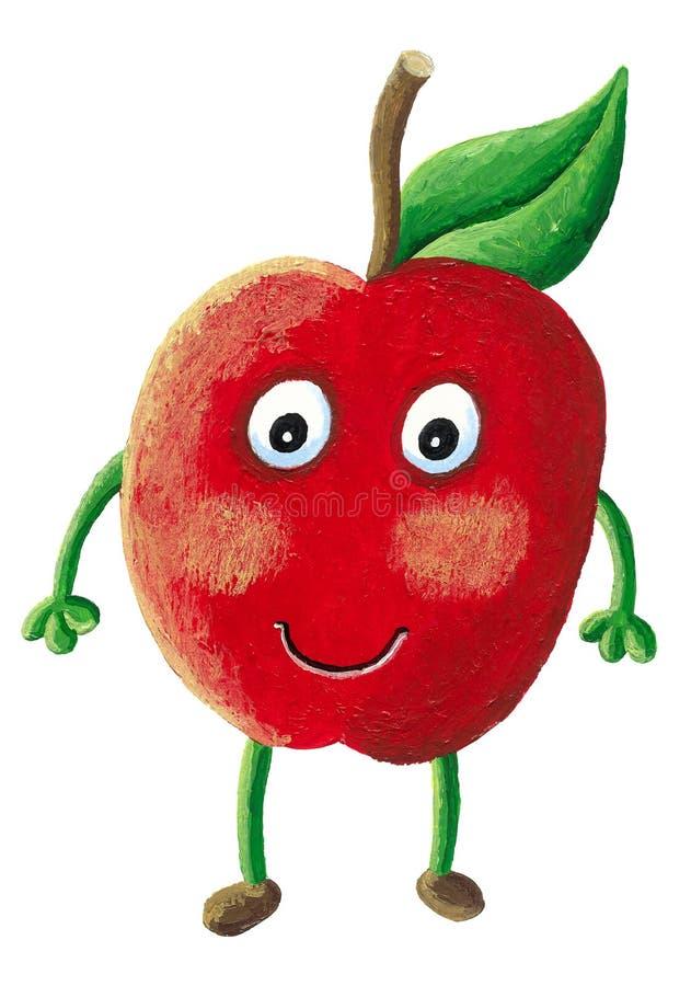 Un carattere della mela - mela con il fronte illustrazione vettoriale