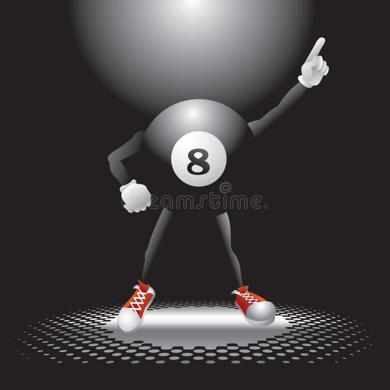 Un carattere delle otto sfere sulla pista da ballo illustrazione di stock