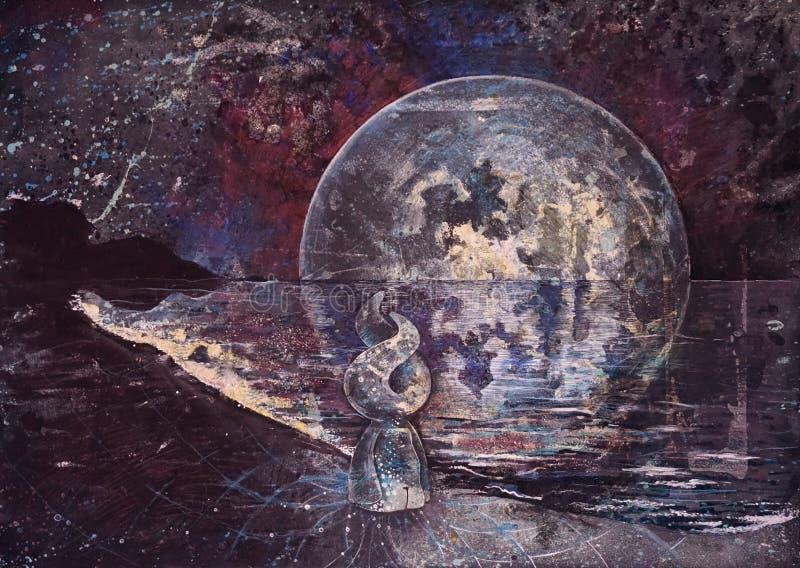 Un carattere fantastico attraente sta sulla riva di mare in un vestito diafano Contro il contesto di uno spazio della luna della  illustrazione vettoriale
