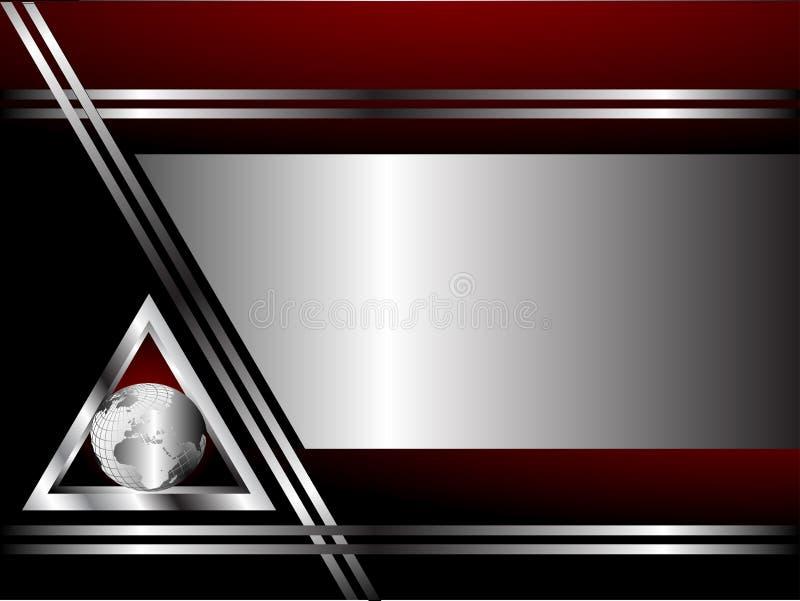 Un cardTemplate rosso-cupo e d'argento di affari illustrazione di stock