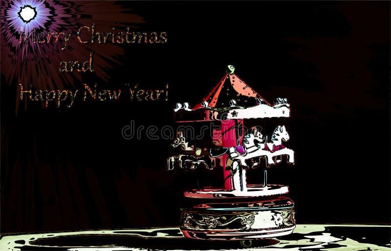 Un carillon sous la lumière de l'étoile de comète à souhaiter bonnes fêtes et de la bonne année illustration libre de droits