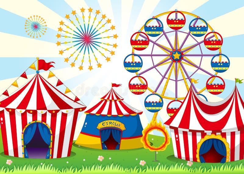 Un carnaval con las tiendas de la raya libre illustration