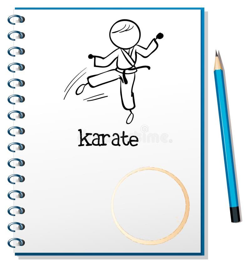 Un carnet avec un croquis d'un athlète de karaté illustration stock