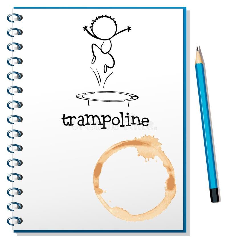Un carnet avec un trempoline à la couverture illustration de vecteur