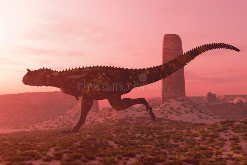 Carnotaurus en el funcionamiento stock de ilustración