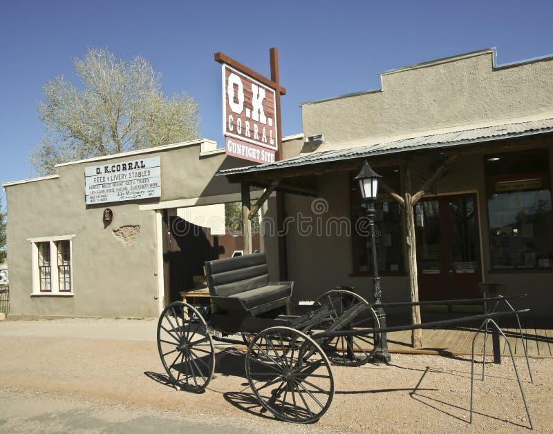 Un carro en el corral ACEPTABLE, piedra sepulcral, Arizona foto de archivo libre de regalías