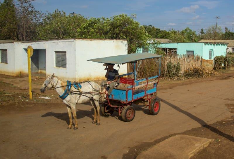 Un carro tirado caballo en Cuba rural fotos de archivo
