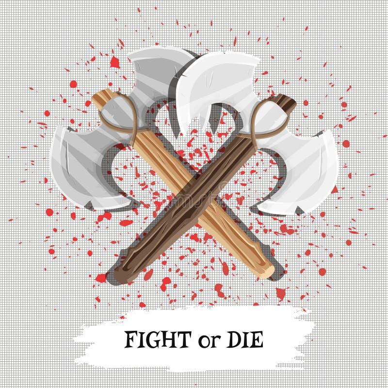 Un cartel con la lucha del lema o muere con las armas y las gotas de la sangre Vector ilustración del vector