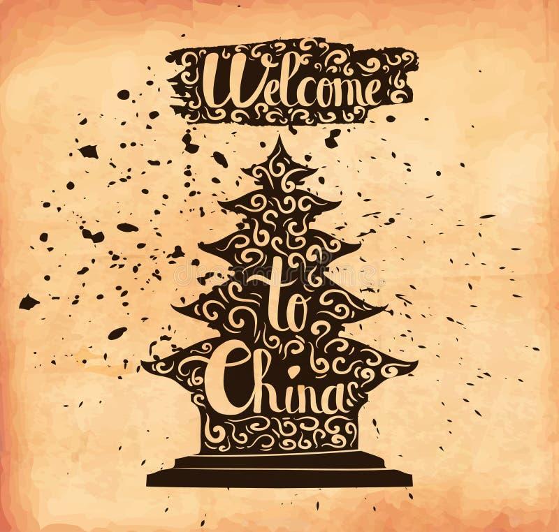 Un cartel en el papel envejecido El viaje a China Un país asiático Vector libre illustration