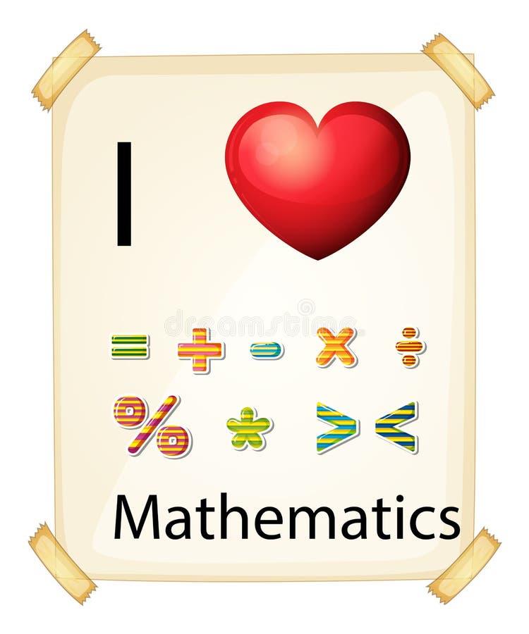 Un cartel que muestra el amor de las matemáticas ilustración del vector