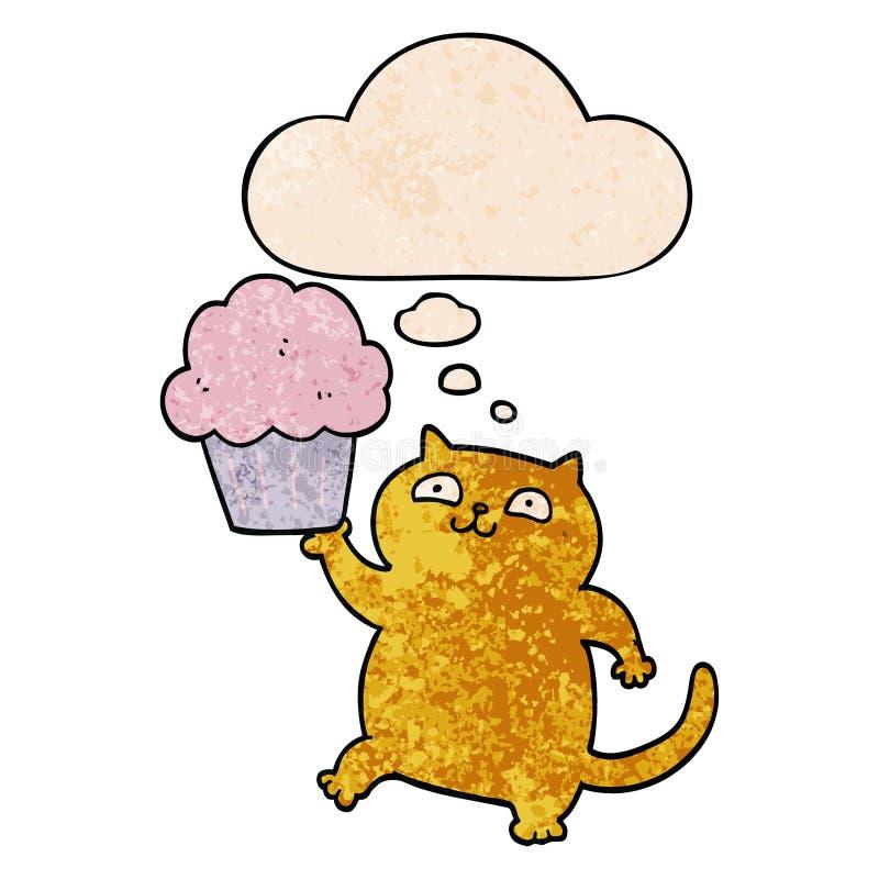 Un cartone animato creativo con cupcake e bolle del pensiero in stile 'grunge texture pattern' illustrazione di stock