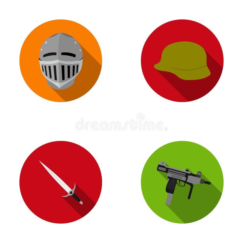 Un casque d'un chevalier médiéval, un casque du ` s de soldat, une épée, un uzi d'automate Les armes ont placé des icônes de coll illustration libre de droits