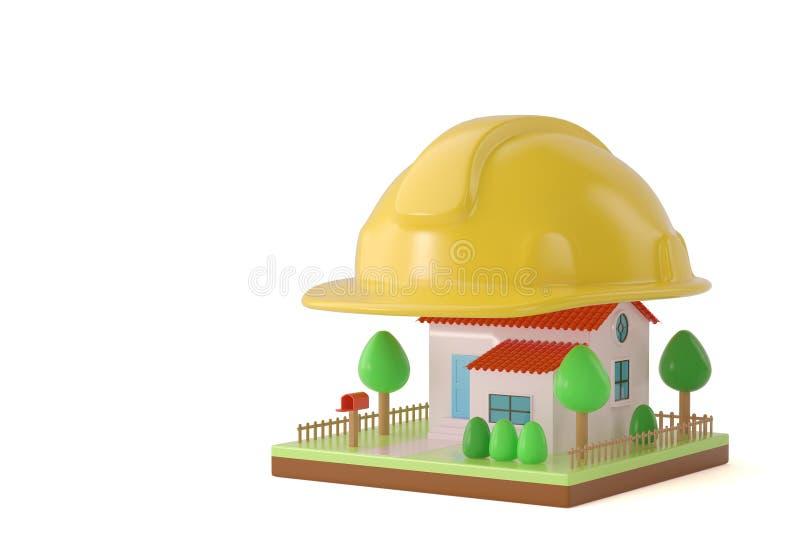 Download Un Casque Sur La Maison Illustration 3D Illustration Stock - Illustration du civil, architecte: 87705424