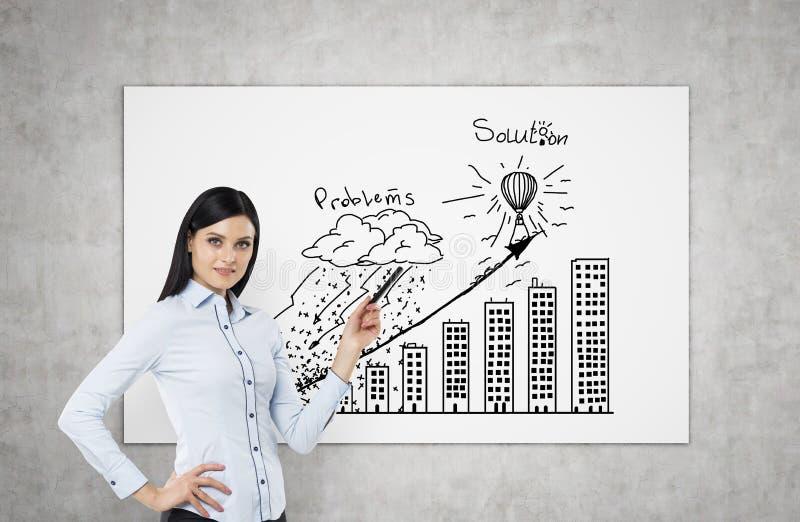 Un castana sta precisando i problemi ed il diagramma di flusso della soluzione Un concetto della presentazione di affari immagine stock