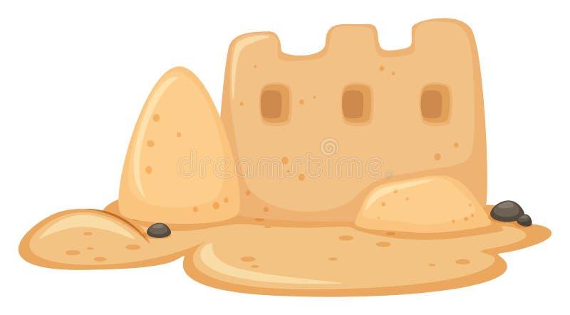 Un castillo de la arena en el fondo blanco stock de ilustración