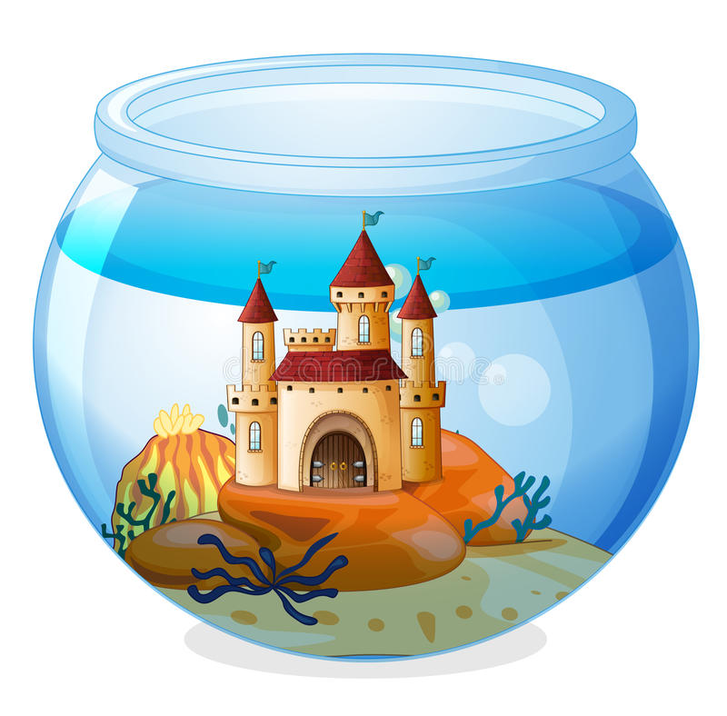 Un castillo dentro de un fishbowl stock de ilustración