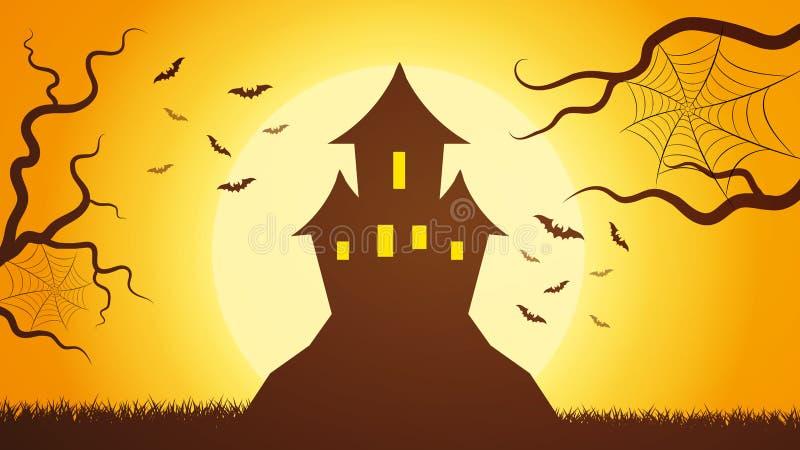 Un castillo mágico oscuro asustadizo de Forest With A encima de la montaña, contra el cielo, iluminado por la luz brillante del libre illustration