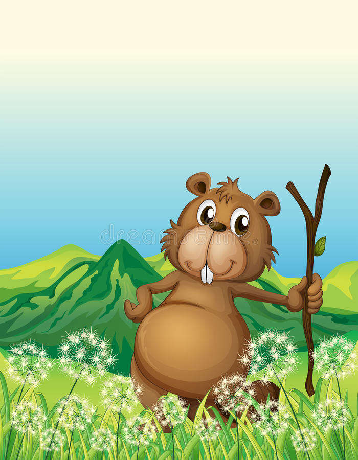 Un castor cerca de la hierba stock de ilustración