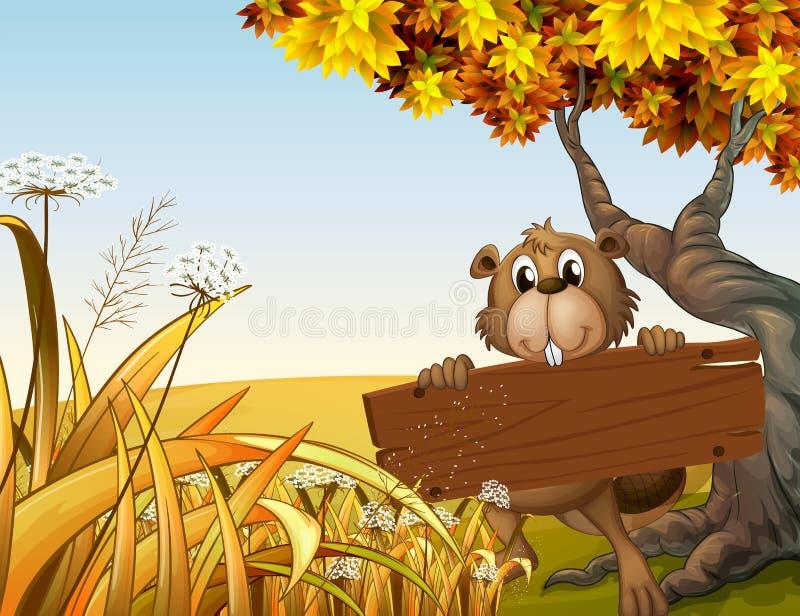 Un castor en la cima de la colina que sostiene un letrero de madera ilustración del vector