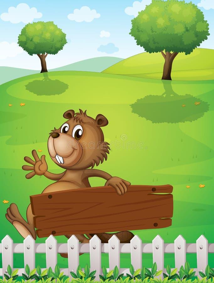 Un castor juguetón cerca de la cerca con un letrero vacío stock de ilustración