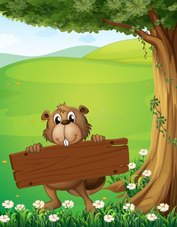 Un castor que sostiene un letrero de madera cerca del árbol ilustración del vector