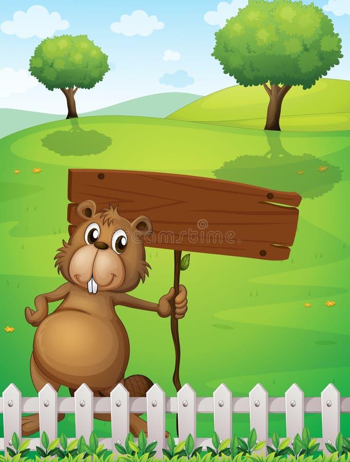 Un castor que sostiene un letrero vacío que se coloca cerca de la cerca stock de ilustración