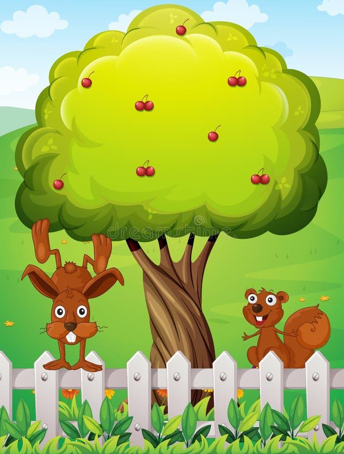 Un castor y una ardilla que juegan cerca del árbol libre illustration