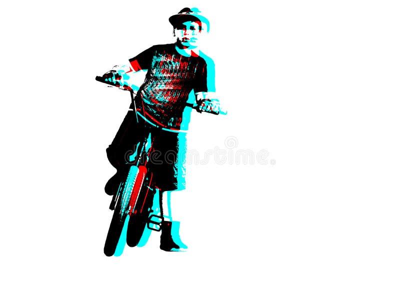 Un cavalier adolescent de bicyclette de BMX, feux de signalisation, d'isolement sur un fond blanc Concept de monte sûr effet de l illustration stock
