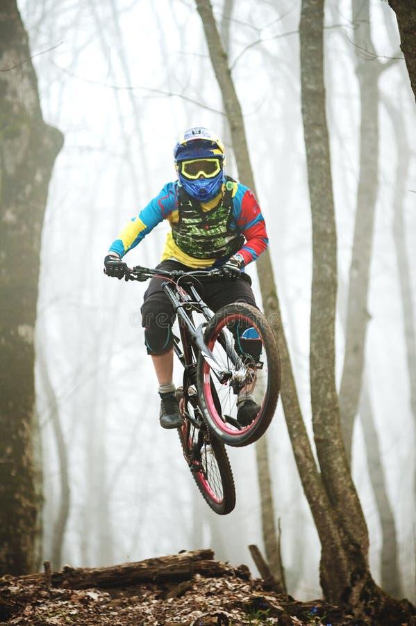 Un cavalier de vélo de montagne saute d'un tremplin dans une forêt brumeuse, dans les montagnes de Caucase photo stock