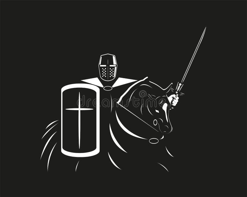 Un cavaliere in armatura con uno schermo e una spada su un cavallo Illustrazione di vettore nello stile dei grafici in bianco e n immagine stock