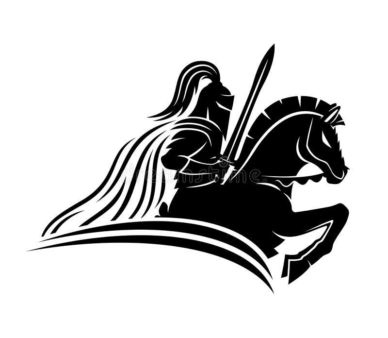 Un cavaliere su un cavallo illustrazione di stock