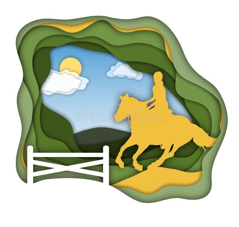Un cavallo da equitazione della ragazza vicino la bambina sta montando un cavallo Sport equestre Illustrazione isolata di vettore illustrazione di stock