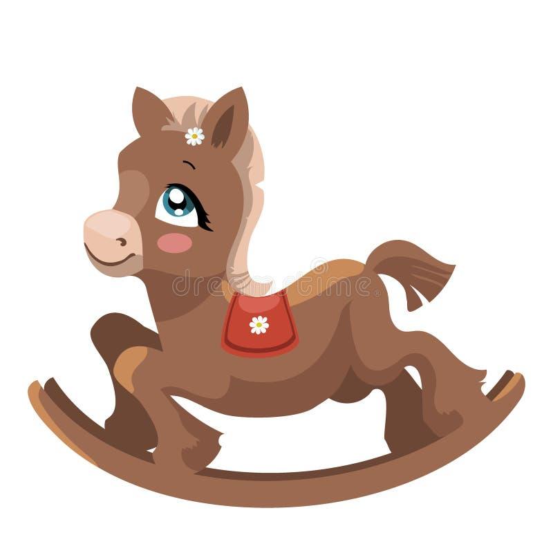Un cavallo del giocattolo per i bambini Un cavallo del fumetto per oscillare Illustrazione variopinta di vettore per i bambini illustrazione di stock