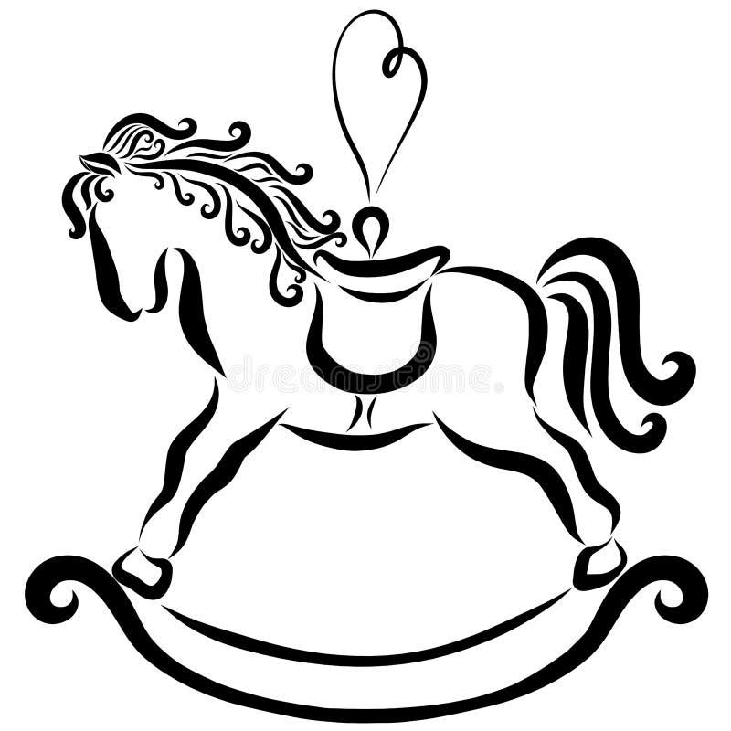 Cavallino A Dondolo Disegno.Un Cavallo A Dondolo Con Un Ciclo Un Giocattolo Dell Albero Di