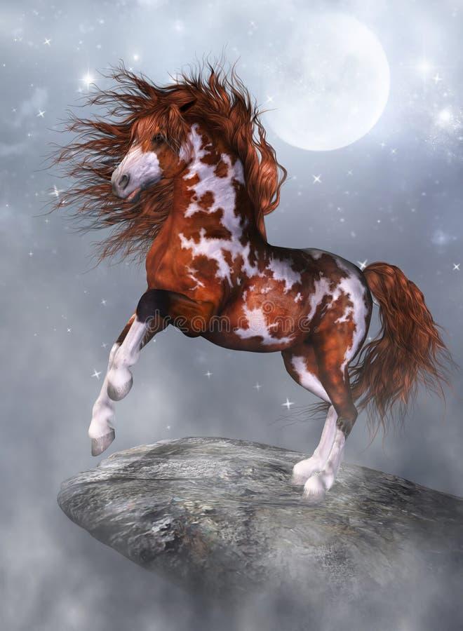 Un cavallo sulla roccia illustrazione vettoriale