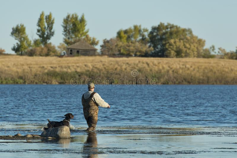 Un cazador del pato y su perro en un humedal de Dakota del Norte fotos de archivo libres de regalías