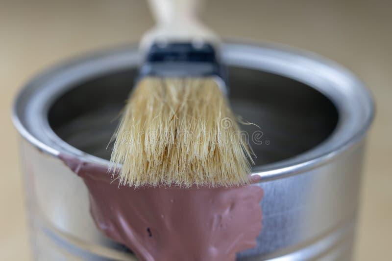 Un cepillo para el quehacer doméstico simple y una poder de pintura Accessor de la reparación imagenes de archivo