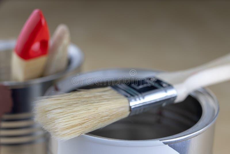 Un cepillo para el quehacer doméstico simple y una poder de pintura Accessor de la reparación imagen de archivo libre de regalías