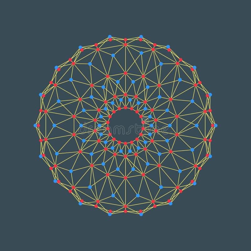 Un cerchio composto di punti e di linee Illustrazione di vettore di Wireframe stile di tecnologia 3D Rosetta e confine del modell royalty illustrazione gratis