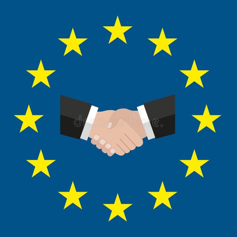 Un cerchio delle stelle Stile piano Bandiera originale e semplice UE di Europa Stretta di mano soluzione Bandiera di Unione Europ illustrazione di stock