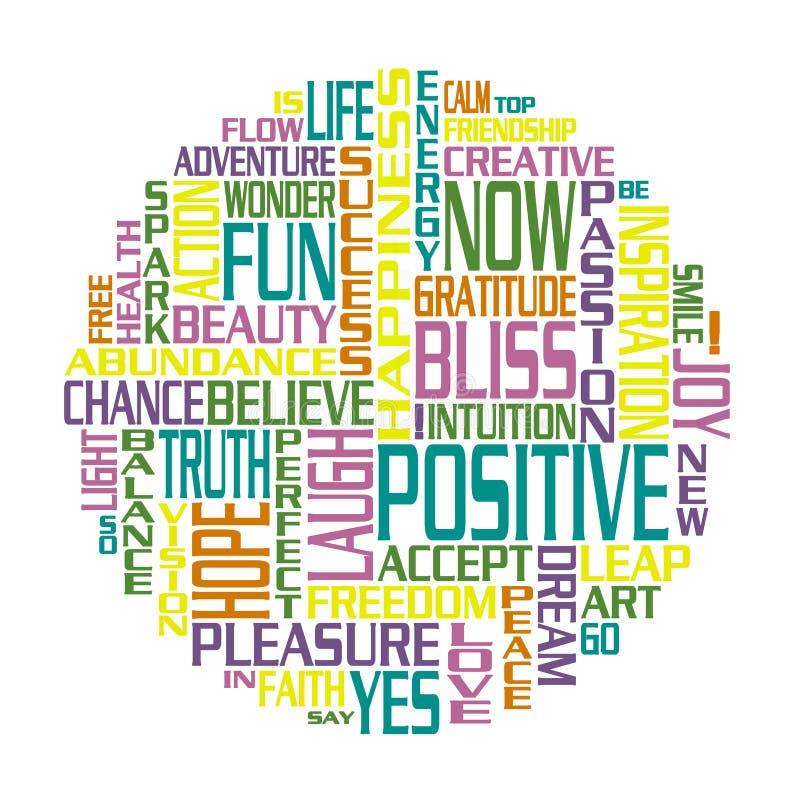 Un cerchio fatto dalle parole positive illustrazione vettoriale