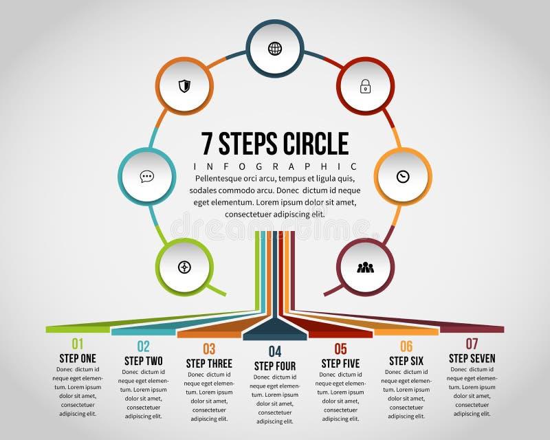Un cerchio Infographic di sette punti royalty illustrazione gratis