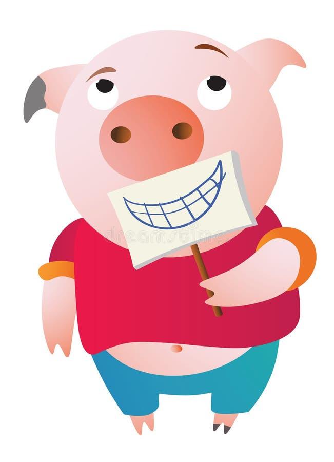 Un cerdo cansado está fingiendo Celebrar una sonrisa falsa libre illustration