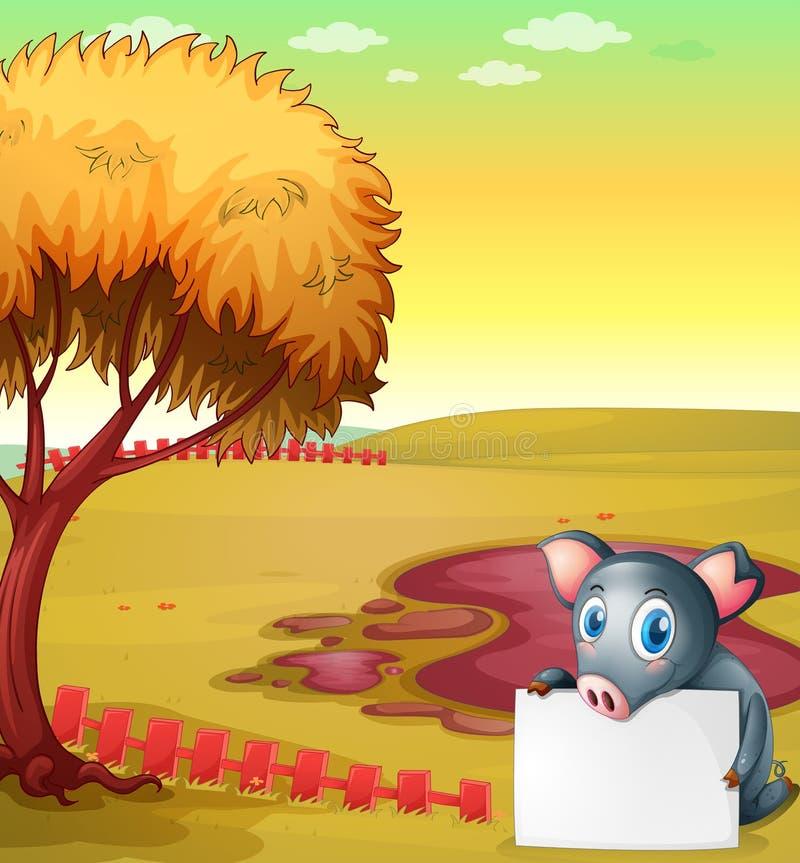 Un cerdo que celebra a un tablero vacío en la granja de cerdo ilustración del vector