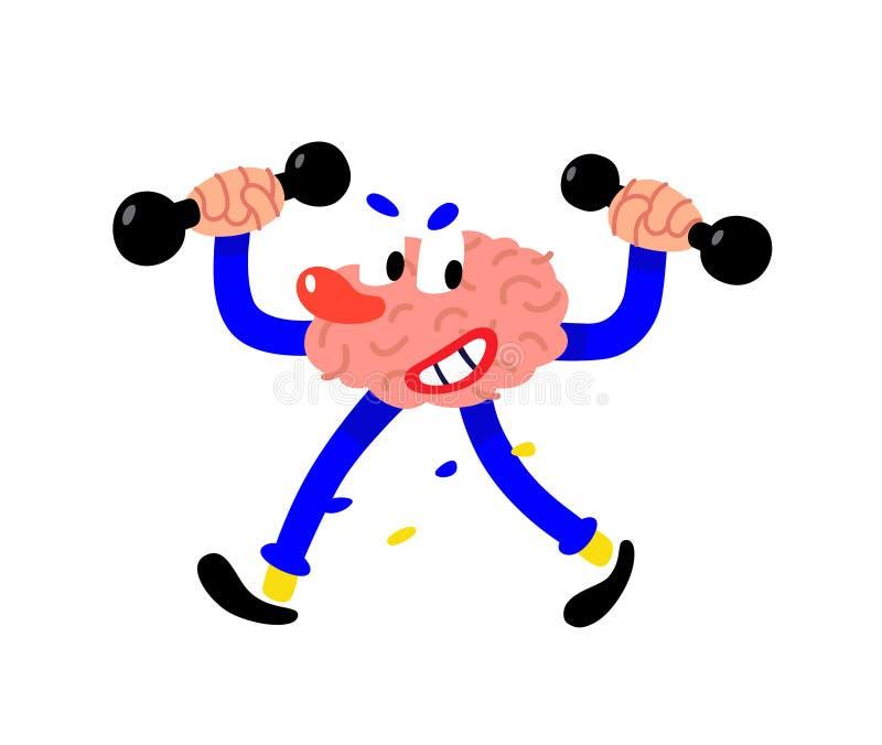 Un cerebro pintado historieta sacude el intelecto Ejemplo plano del vector en el fondo blanco El carácter es listo Un corporativo ilustración del vector