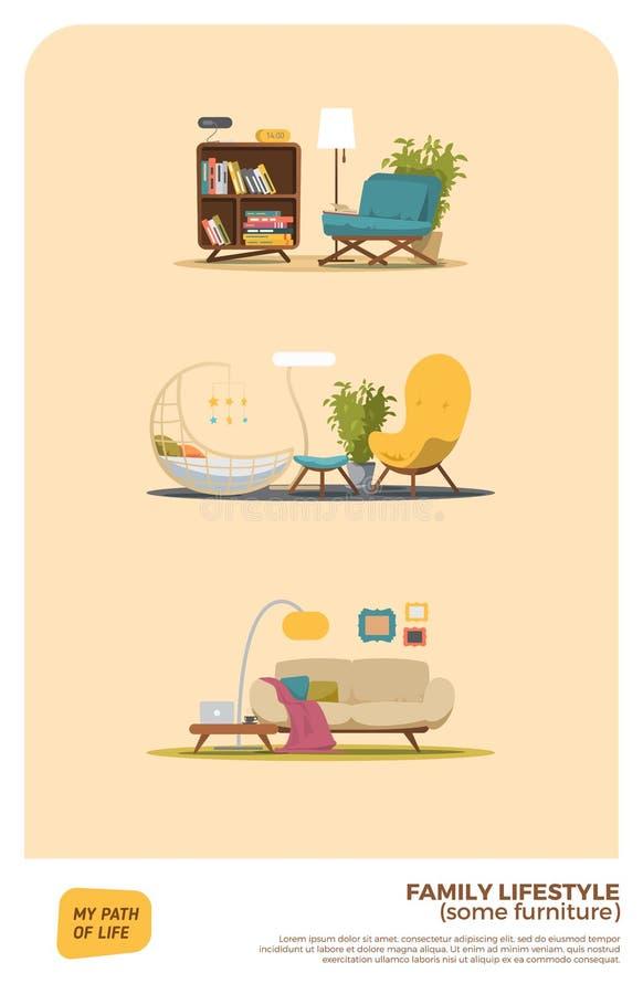 Un certain ensemble de meubles illustration libre de droits