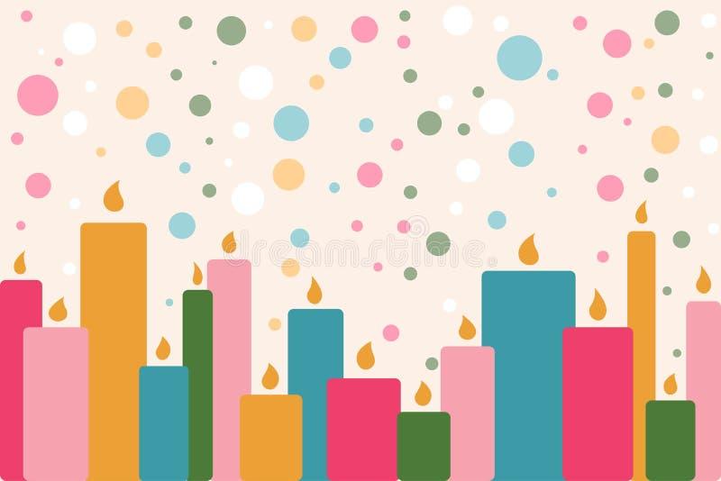 Un certain nombre de bougies brûlantes de cire Illus abstrait de vecteur de colorfull illustration stock