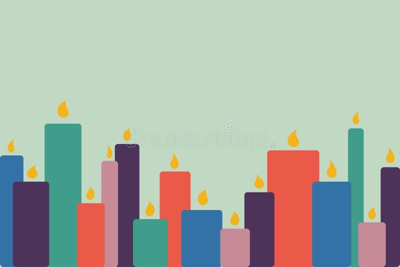 Un certain nombre de bougies brûlantes de cire Illus abstrait de vecteur de colorfull illustration de vecteur