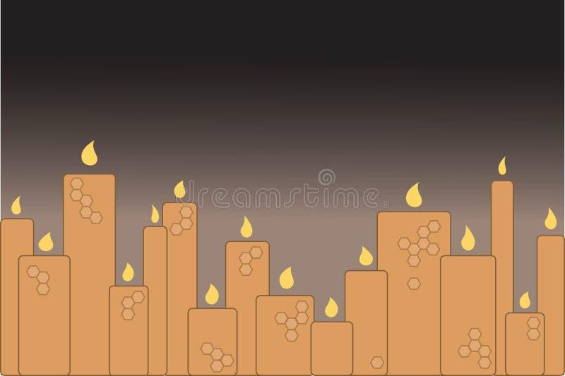 Un certain nombre de bougies brûlantes de cire illustration abstraite de vecteur illustration de vecteur
