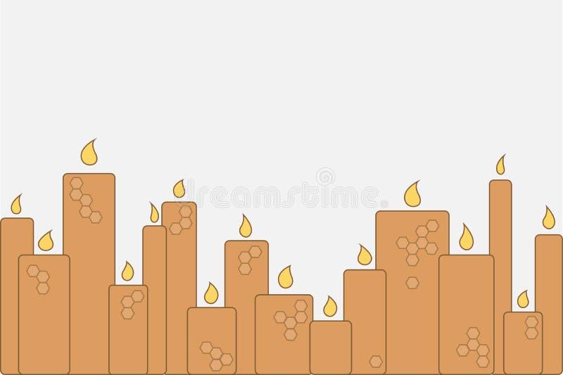 Un certain nombre de bougies brûlantes de cire illustration abstraite de vecteur illustration libre de droits